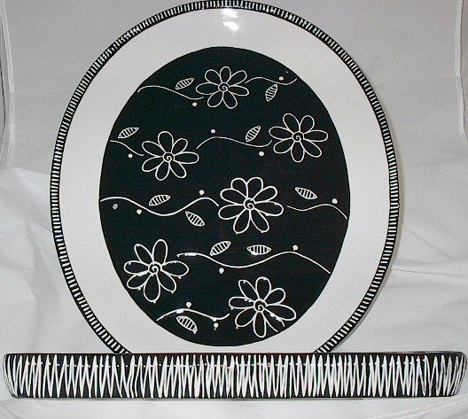 Ganz Bella Casa 17 inch Ceramic Platter & Cracker Dish Server Set