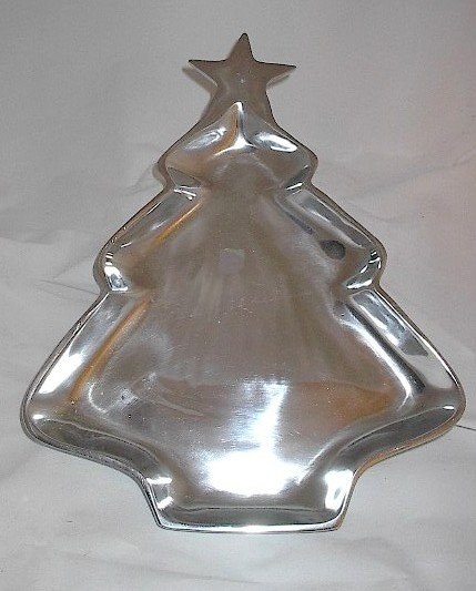 Christmas Tree Shaped 10.5 Inch Aluminum Pewter Dish