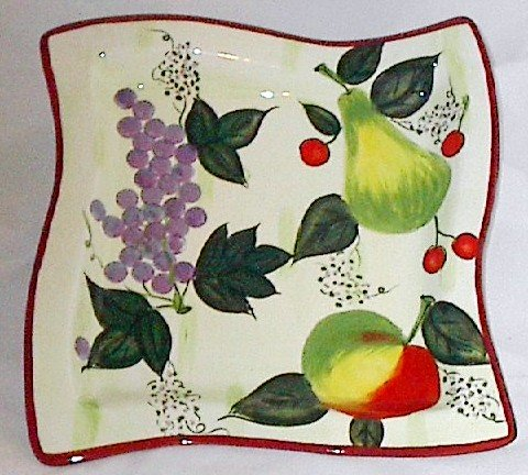 11 Inch Square Ceramic Serving Tray featuring Fruit
