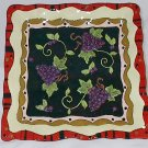 12 Inch Square Bella Casa Ceramic Serving Tray featuring Grapes