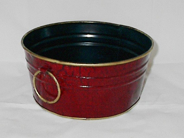 Rich Burgundy 8 Inch Round Metal Planter with Gold Trim