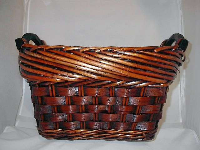Gorgeous Large Dark Brown Stain Gift Basket with Handles