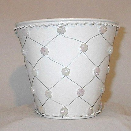 White Bead Metal Pail Pot Cover