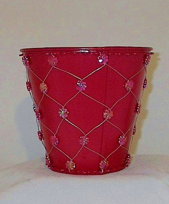 Red Bead Metal Pail Pot Cover