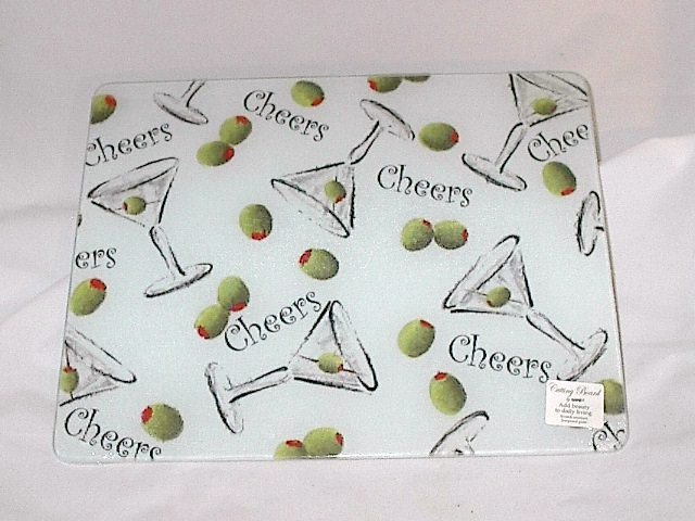Martini & Olives 'Cheers' Tempered Glass Large Kitchen Cutting Board