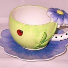 Purple Dazzle Ceramic Cup and Saucer featuring LadyBug