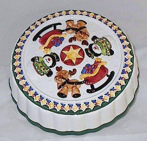 Christmas Themed Ceramic Pie Cake Cover