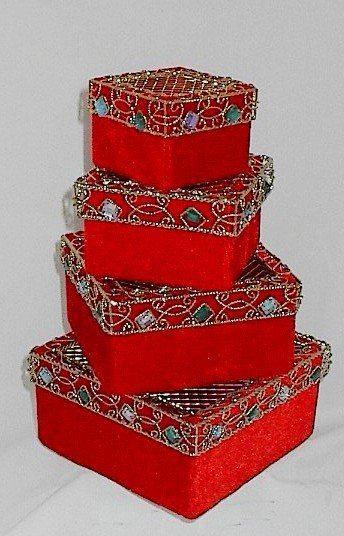 Crushed Velvet Stackable Gift Box Set Jewel Encrusted Scroll Metal Lids