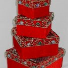 Crushed Velvet Stackable Gift Box Set Jewel Encrusted Scroll Metal Lids