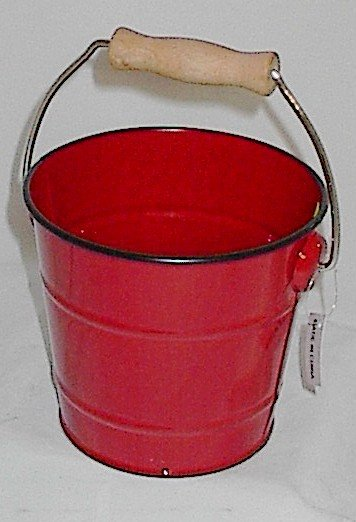 Red Metal Pail Pot Cover