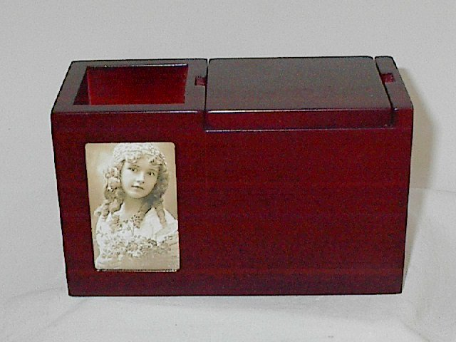 Cherry Wood Executive Photo Desktop Organizer Pop-up Business Card Compartment