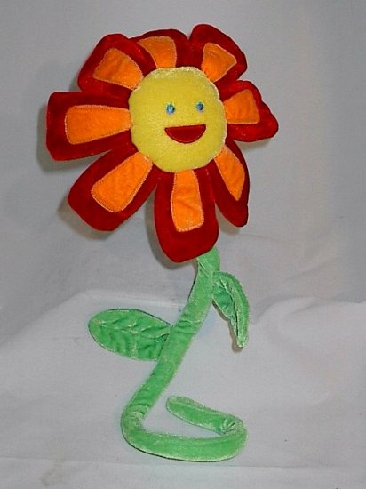 Russ Plush Red Orange Flower w Face and Bendable Stem