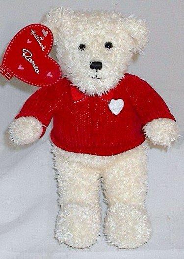 Hallmark Romeo White Plush Teddy Bear with Red Sweater Bow Tie