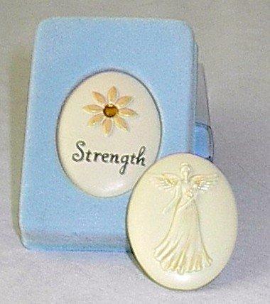 Handpainted Power of Believing 'Strength' Angel in my Pocket Stone