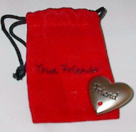 "Pewter Love Token 'Friend' in Red Velvet ""True Friends"" Pouch"