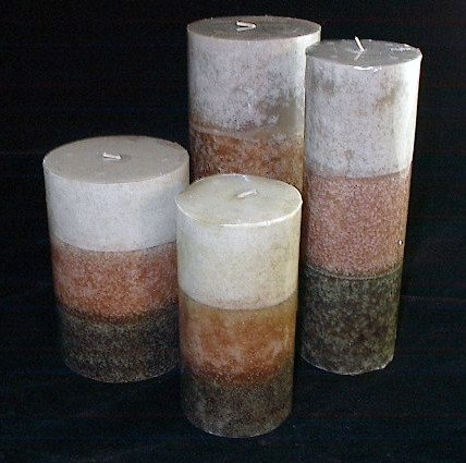 "Clearance Wide 4"" x 9"" Pillar Tri-Color Sandalwood Candle"