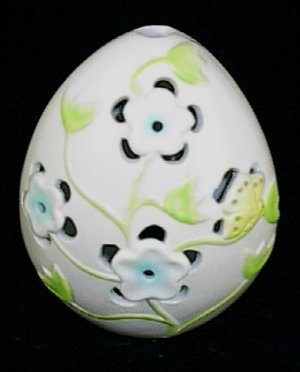 Ganz Ceramic Egg Blue Flowers & Butterfly Tea Light