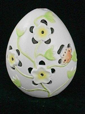 Ganz Ceramic Egg Yellow Flowers & Butterfly Tea Light