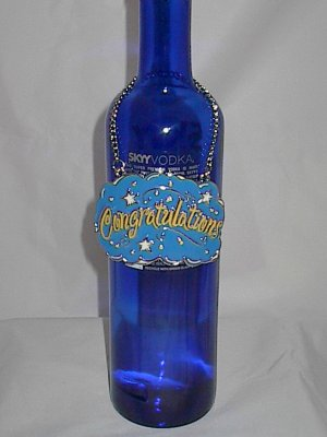 Wine Liquor Bottle Ornament Charm Gift Accessory Congratulations