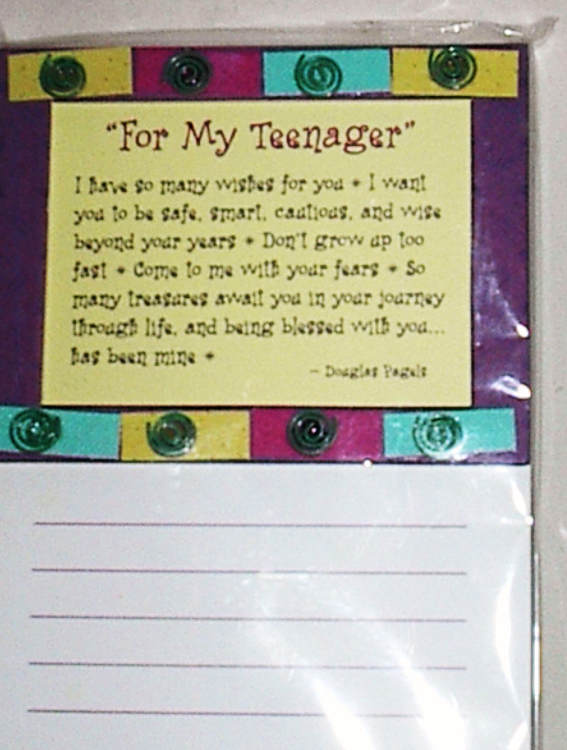 """Blue Mountain Arts Inspriational Magnetic List Note Pad """"To My Teenager"""""""