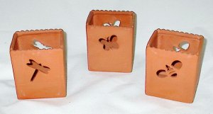 Set of 3 Hallmark Candlelight Critters Terra Cotta Tea Light Holders
