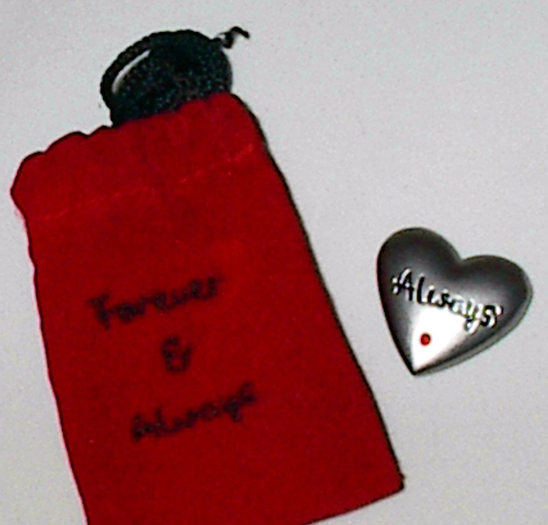 Pewter Love Token 'Always' in Red Velvet 'Forever & Always' Pouch
