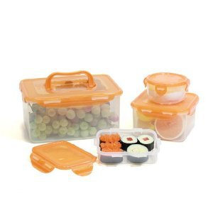 Lock & Lock 8-Piece Lunch Box, 4 Containers, Orange Lid