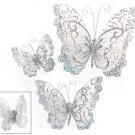 Set of 3 Shimmering Silver Christmas Tree Butterfly Butterflies