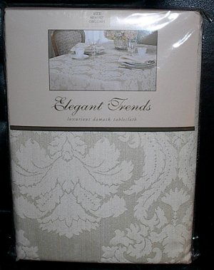 "Elegant Trends Luxurious Damask Ivory Oblong Tablecloth 60"" x 102"""