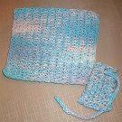 Handmade Knitted Cotton Washcloth and Soap Sack Set