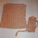 Handmade Knitted Cotton Blend Washcloth and Soap Sack Set