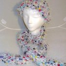 Handmade Knitted Soft Hat & Scarf Set White Multi Fun