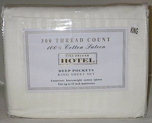 Fine Deluxe Hotel Cotton Sateen 300TC King Size Sheet Set Beige