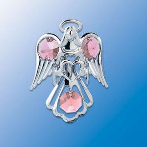 Blue Swarovski Crystal Silver Guardian Angel with Heart Suncatcher Ornament