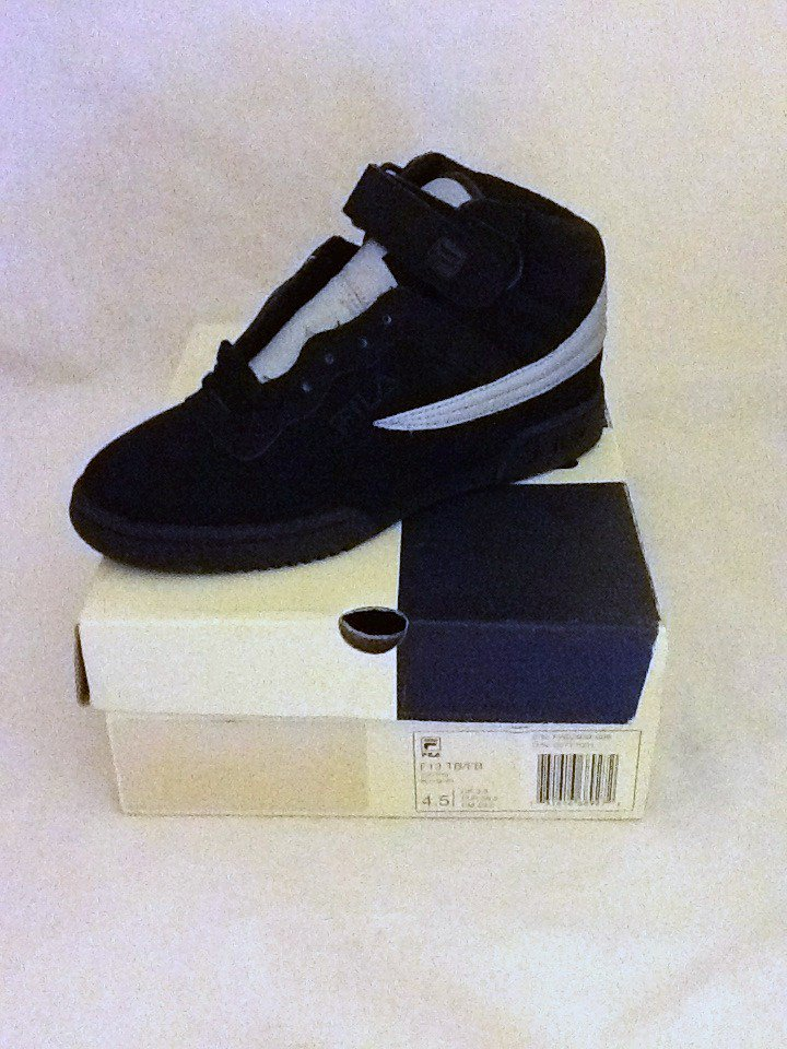 80e71c83a88e Fila F-13 Lite High Top Athletic Youth Boys Size 4.5 Black Silver Sneakers