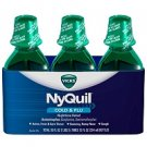 3 Pack Nyquil Cold and Flu Original Flavor Nighttime Relief 12 Fl Oz