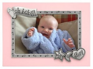 New Baby Girl 'It's a girl' Pink and Silver Picture Frame