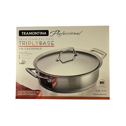 Tramontina Professional 5 Qt. Covered Casserole TriPly Stainless Steel