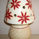 Russ Berrie Holiday Christmas Traditions Ceramic Poinsettias Lamp Votive