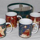 4 Piece Ceramic Christmas Mug Set with Gift Box featuring Snowmen and Sentiments