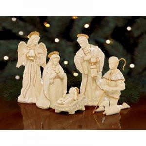Collectible Lenox Innocence Nativity 6 Piece Holy Family Set
