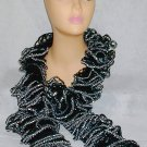 Handmade Ruffle Boa Type Scarf Beautiful Frilly Lace Elegant Black Silver