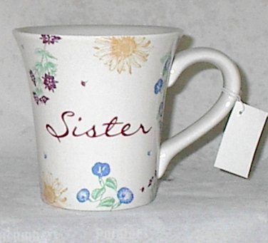 Russ Berrie Dear to My Heart Sister Best Friend Ceramic 12 oz Tea Coffee Mug