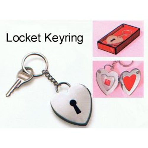 'Key to My Heart' Lock Locket Pewter Photo Keyring