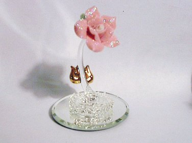 Glass Baron Pink Shimmer Rose Gold Leaves Spun Glass Base
