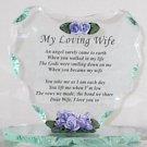 J&D Designs My Loving Wife Glass Heart w Purple Resin Flowers