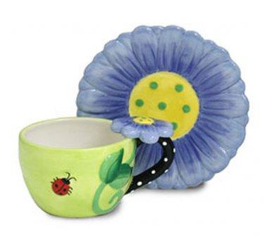 Burton & Burton Hand-painted Raised Ceramic Dazzle Flower & Ladybug Teacup Set