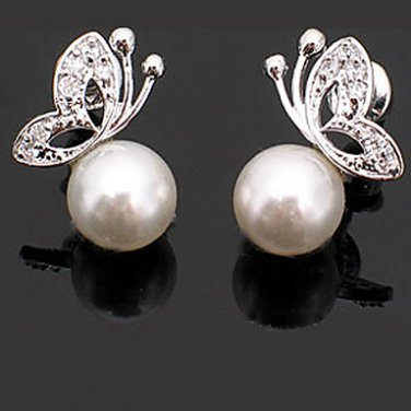 Classic Fashionable Hypoallergenic Pearl CZ Butterfly Stud Earrings 1 Set of 2 Earrings