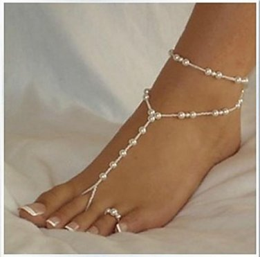 Classic Fashionable and Elegant White Pearl Barefoot Sandal Anklet Toe Ring Set