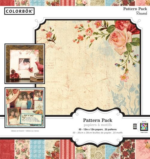 "Colorbok Rosewood Pattern Pack 50 Sheet 12""x12"" Scrapbook Craft Paper"